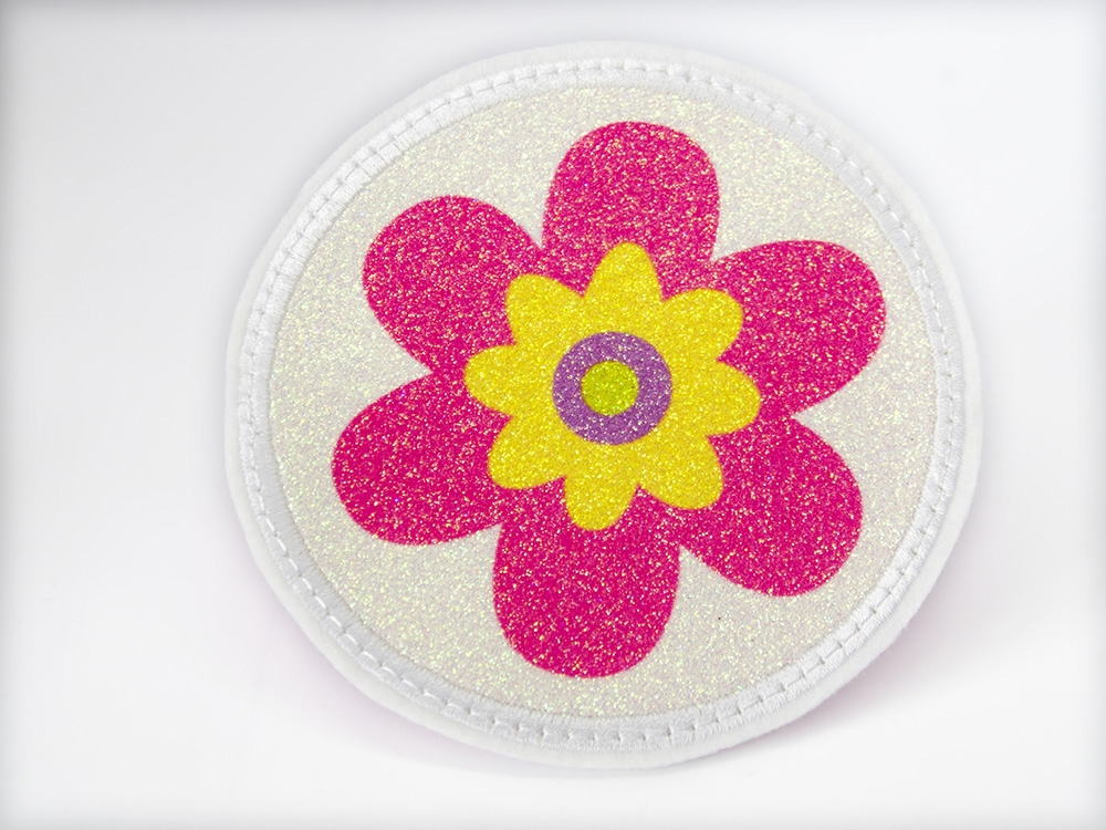 Glitzerbutton pink Blume
