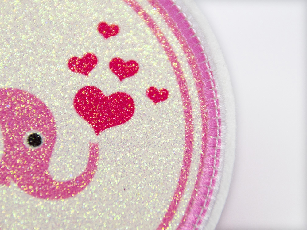 Glitzerbutton rosa Elefant