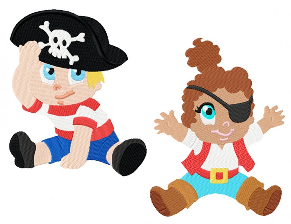 Erdbeerkobold - Piratenbaby Stickdatei Junge & Mädchen
